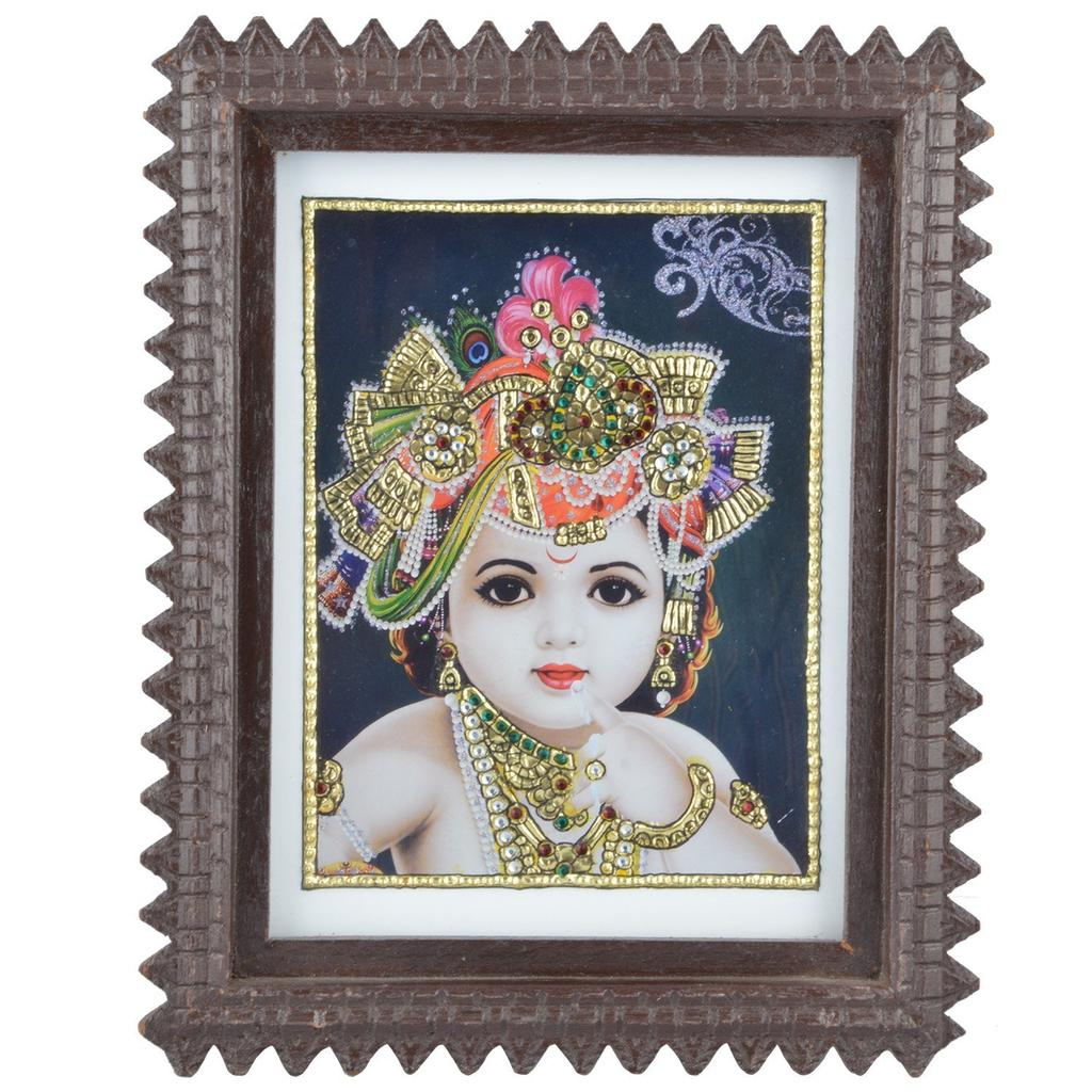 "Mangala Art Face Krishna Indian Traditional Tamil Nadu Culture Acrylic Base Tanjore Painting - 24x19cms (9.5""x7.5"")"