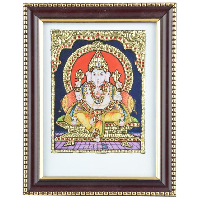 "Mangala Art Ganesha Indian Traditional Tamil Nadu Culture Acrylic Base Tanjore Painting - 21x16cms (8.5""x6.5"")"
