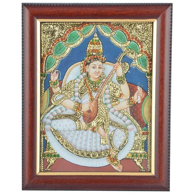 "Mangala Art Saraswathi Indian Traditional Tamil Nadu Culture Tanjore Acrylic Base Painting - 25x30cms (10""x12"")"