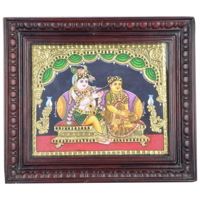 "Mangala Art Radha Krishna Indian Traditional Tamil Nadu Culture Tanjore Acrylic Base Painting - 20x25cms (10""x12"")"