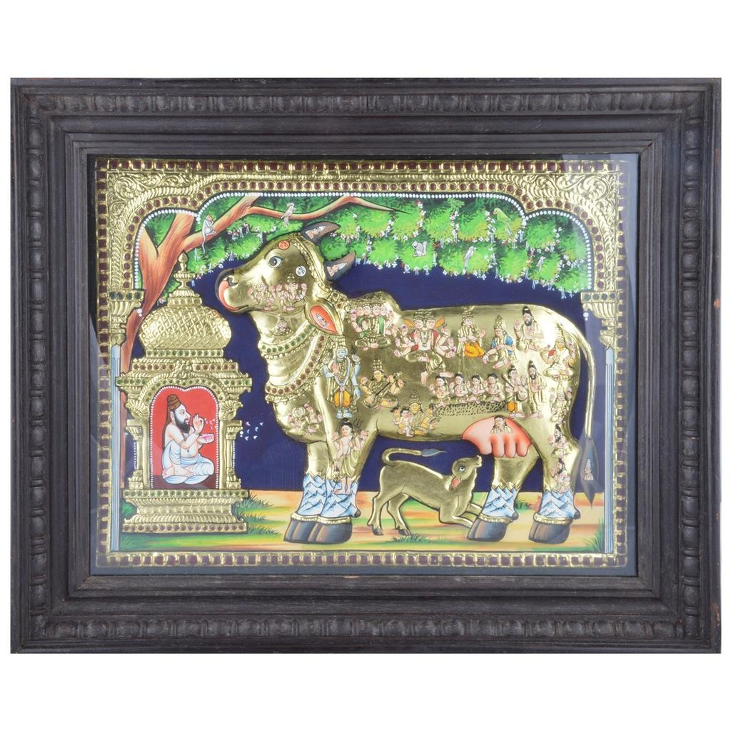 "Mangala Art Kamadhenu Indian Traditional Tamil Nadu Culture Tanjore Painting with 3D Embossment - 38x30cms (15""x12"")"