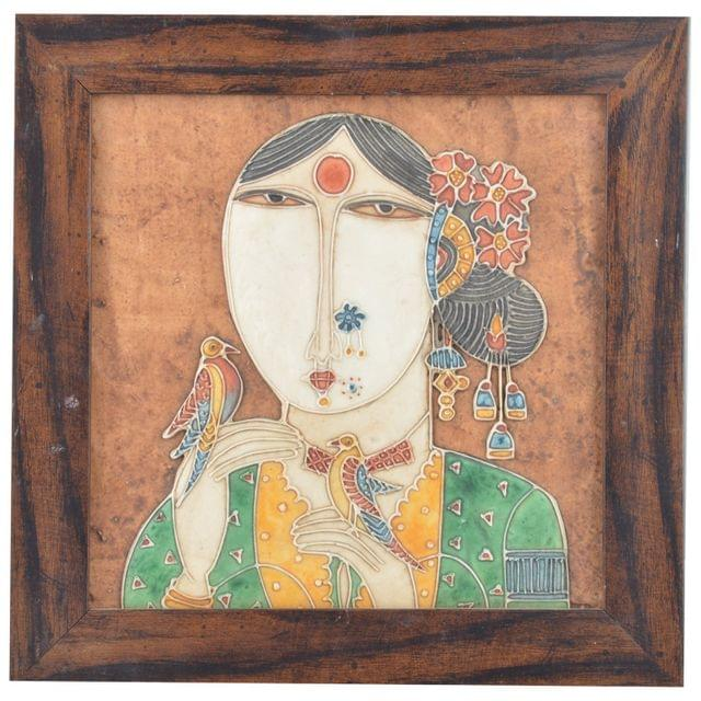 "Mangala Art Lady Mural Artwork Wall Decor 25x25cms (10""x10"")"