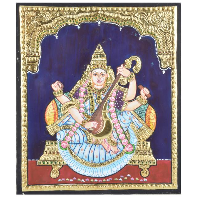 "Mangala Art Saraswathi Indian Traditional Tamil Nadu Culture Tanjore Without Frame Painting - 25x30cms (10""x12"")"