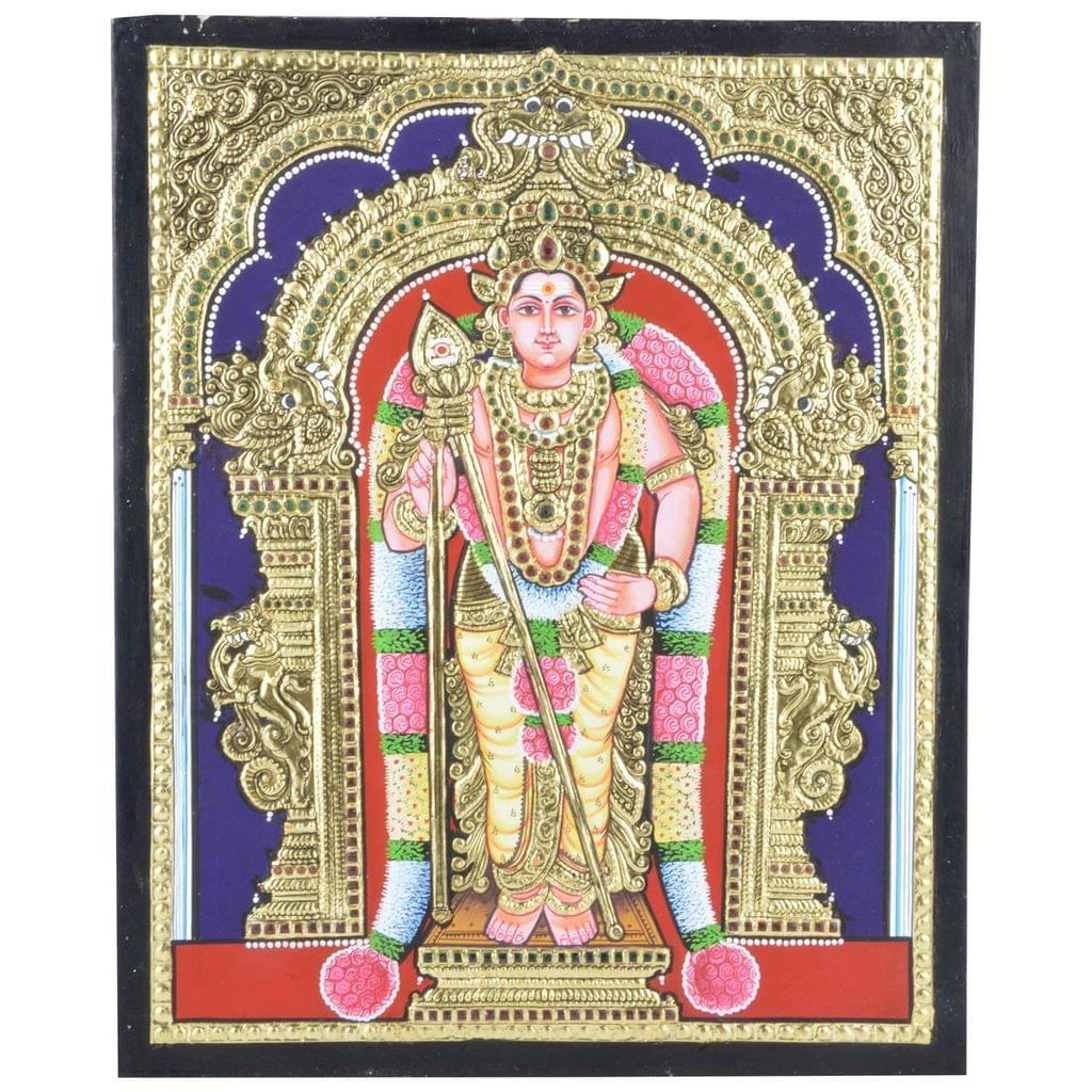 """Mangala Art Murugan Indian Traditional Tamil Nadu Culture Tanjore Without Frame Painting - 38x30cms (15""""x12"""")"""