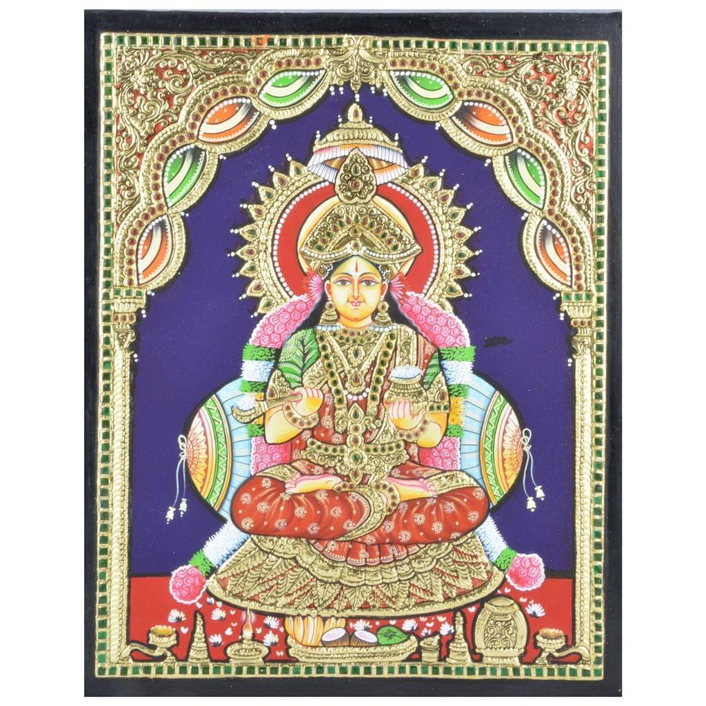 """Mangala Art Annapoorni Indian Traditional Tamil Nadu Culture Tanjore Without Frame Painting - 38x30cms (15""""x12"""")"""