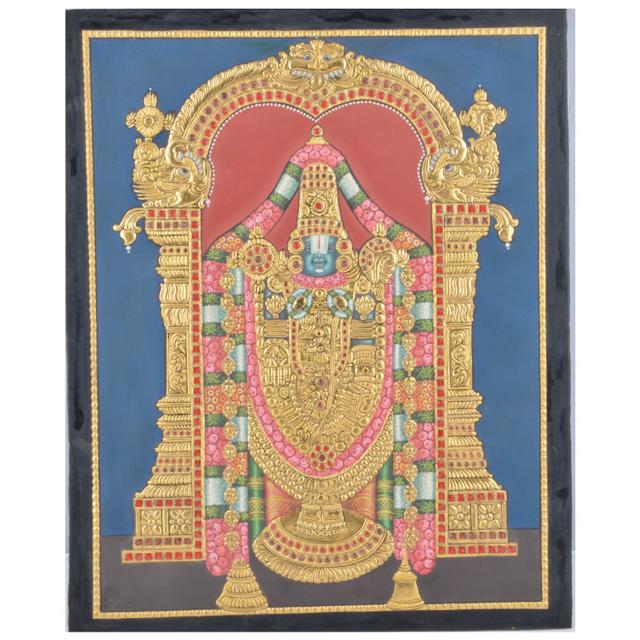 "Mangala Art Balaji Indian Traditional Tamil Nadu Culture Tanjore Without Frame Painting - 38x30cms (15""x12"")"