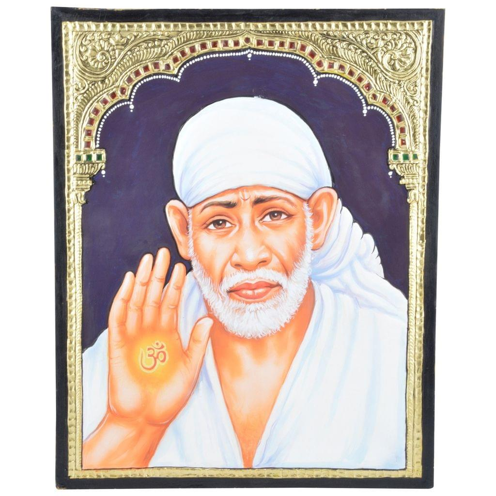 "Mangala Art Shirdi Baba Indian Traditional Tamil Nadu Culture Tanjore Painting Without Frame - 38x30cms (15""x12"")"
