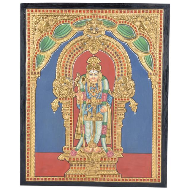 "Mangala Art Raja Alangara Murugan Indian Traditional Tamil Nadu Culture Tanjore Without Frame Painting - 38x30cms (15""x12"")"