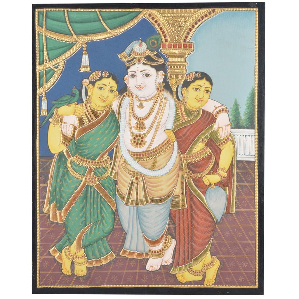 "Mangala Art Bama Rukmani Krishna Indian Traditional Tamil Nadu Culture Tanjore Without Frame Painting - 38x30cms (15""x12"")"
