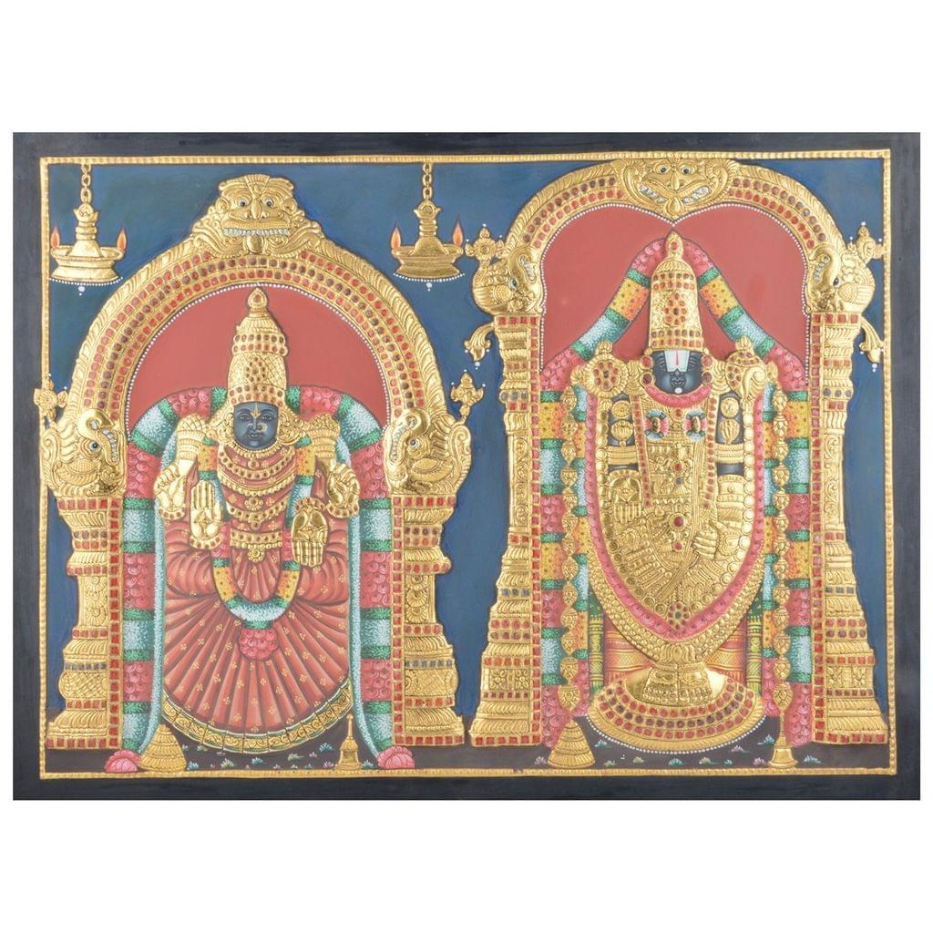 """Mangala Art Thayar Balaji Indian Traditional Tamil Nadu Culture Tanjore Without Frame Painting - 61x46cms (24""""x18"""")"""