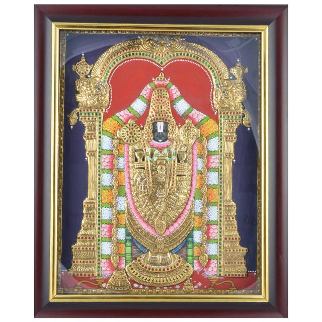 "Mangala Art Balaji Indian Traditional Tamil Nadu Culture Tanjore Painting - 34x27cms (13.5""x10.5"")"