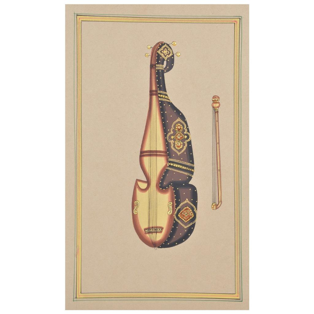 "Mangala Art Musical Violin Paper Gold Paint Tanjore Artwork Without Frame Wall Decor 18x28cms (7""x11"")"