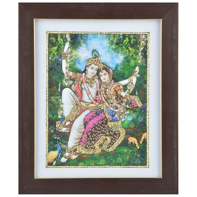 "Mangala Art Oonjal Krishna Indian Traditional Tamil Nadu Culture Acrylic Base Tanjore Painting - 20x25cms (8""x10"")"