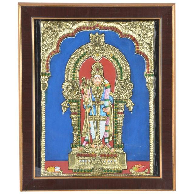 "Mangala Art Raja Alangara Murugan Indian Traditional Tamil Nadu Culture Acrylic Base Tanjore Painting - 20x25cms (8""x10"")"