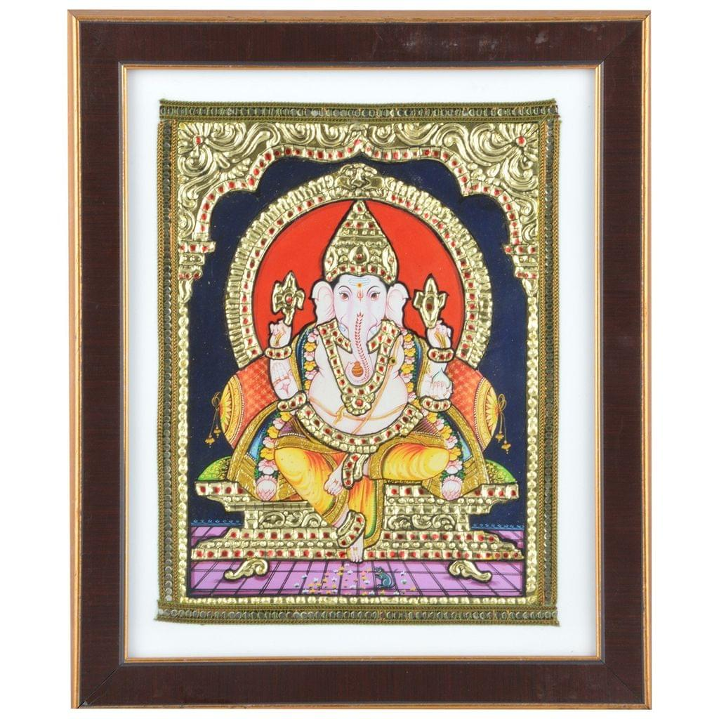 "Mangala Art Ganesha Indian Traditional Tamil Nadu Culture Acrylic Base Tanjore Painting - 20x25cms (8""x10"")"