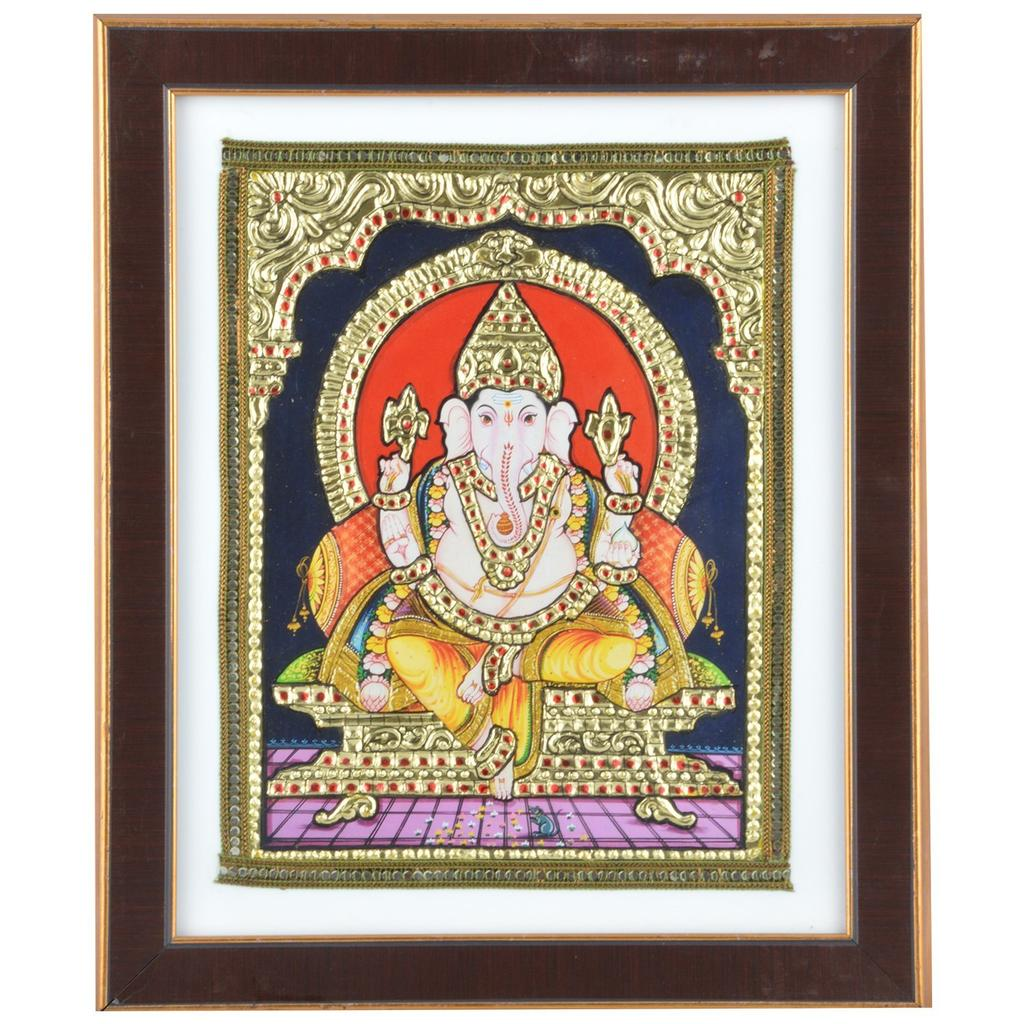 "Mangala Art Ganesha Indian Traditional Tamil Nadu Culture Acrylic Base Tanjore Painting - 25x30cms (10""x12"")"