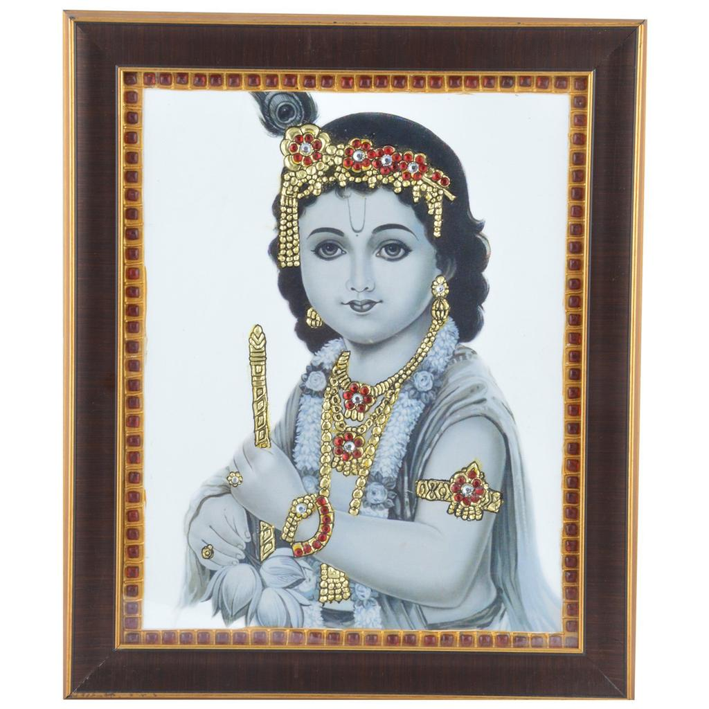 "Mangala Art Flute Krishna Indian Traditional Tamil Nadu Culture Acrylic Base Tanjore Painting - 20x25cms (8""x10"")"