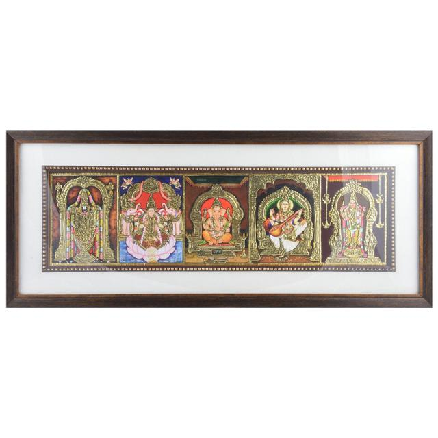 "Mangala Art 5 Gods Indian Traditional Tamil Nadu Culture Tanjore Painting - 56x23cms (22""x9"")"