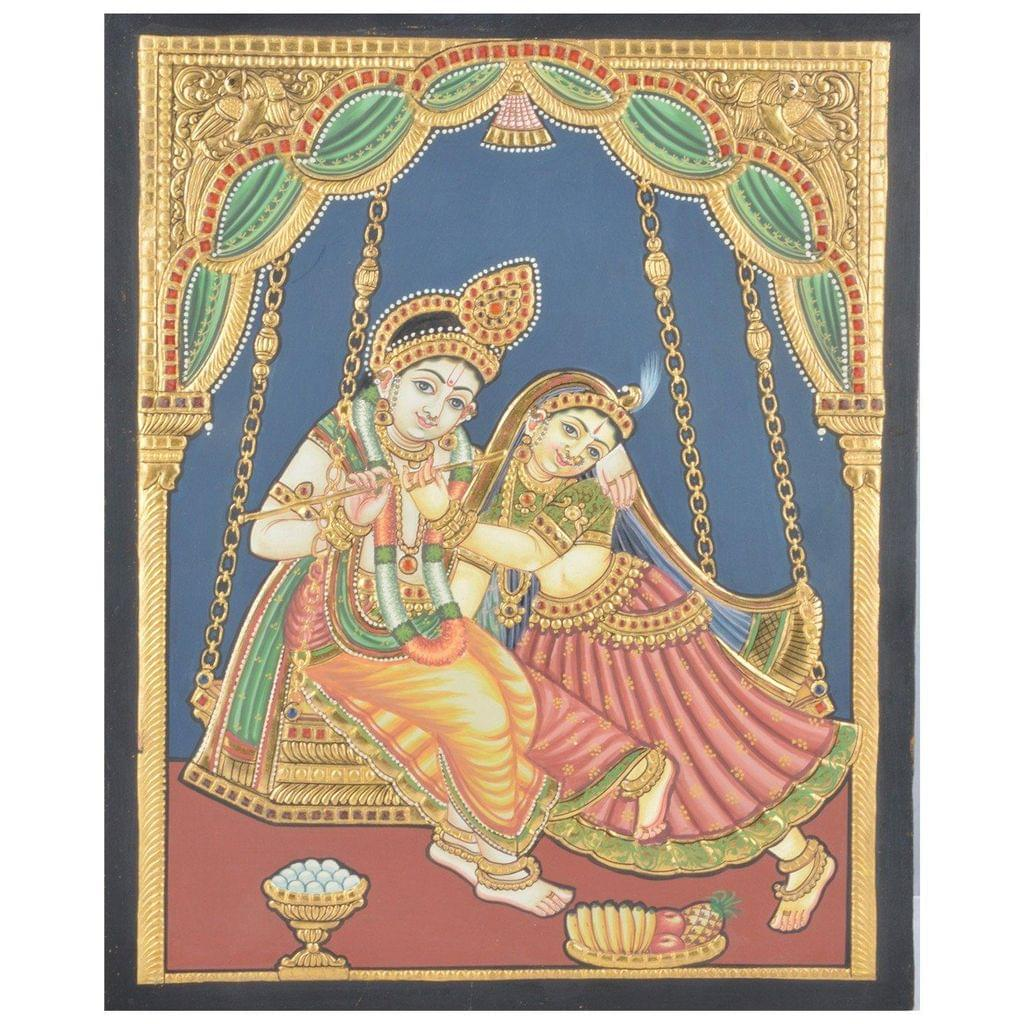 "Mangala Art Oonjal Krishna Indian Traditional Tamil Nadu Culture Tanjore Painting Without Frame - 38x30cms (15""x12"")"