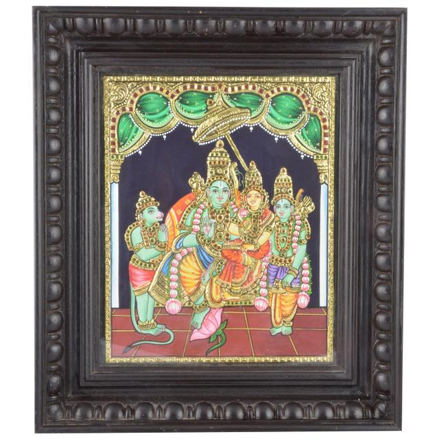 "Mangala Art Ramar Pattabhishekam Indian Traditional Tamil Nadu Culture Tanjore Painting - 39x33cms (15.5""x13"")"