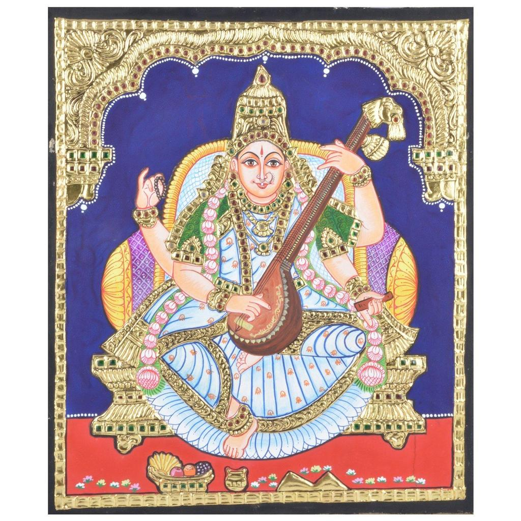 "Mangala Art Saraswathi Indian Traditional Tamil Nadu Culture Tanjore Painting Without Frame - 38x30cms (15""x12"")"