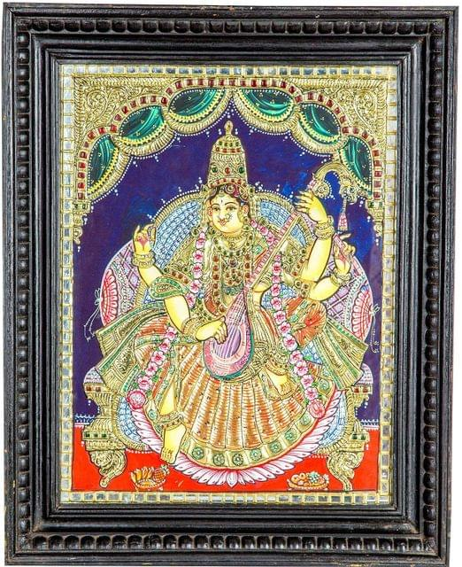 "Mangala Art Lakshmi Indian Traditional Tamil Nadu Culture 24 Carat Gold Foil Tanjore Painting - 38x30cms (15""x12"")"