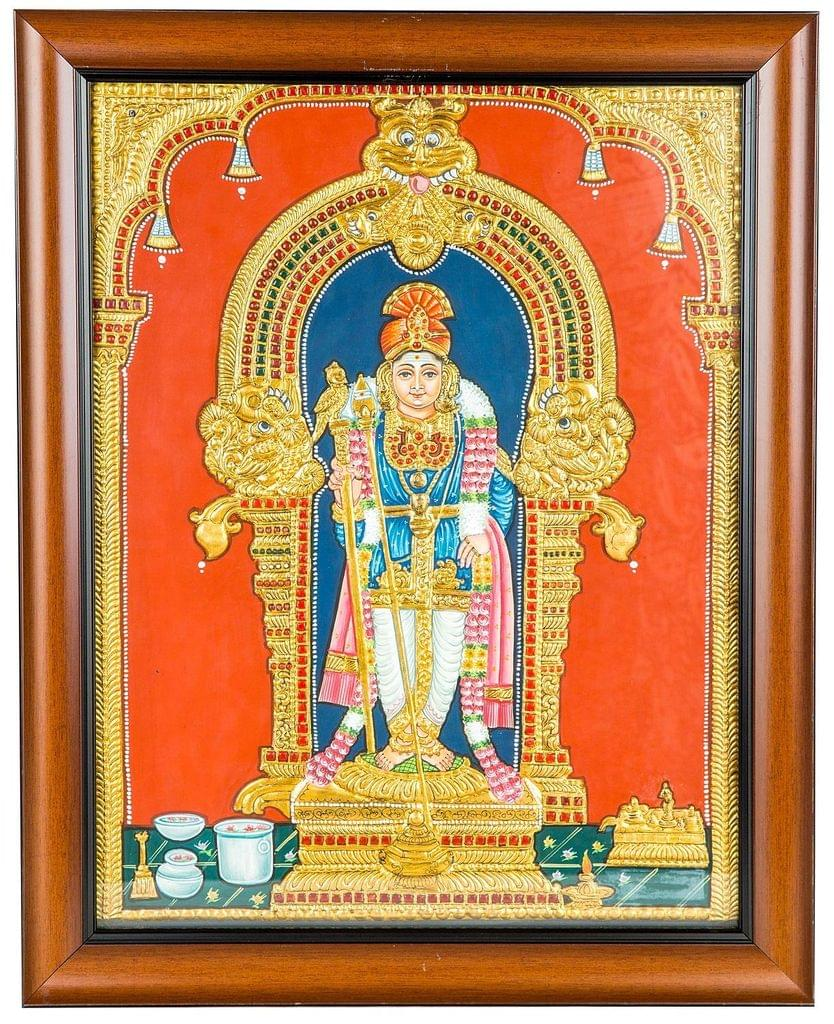 "Mangala Art Murugan Indian Traditional Tamil Nadu Culture Tanjore Painting - 40x35cms (16""x14"")"