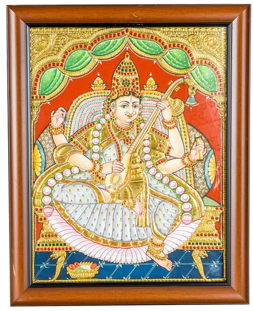 "Mangala Art Saraswathi Indian Traditional Tamil Nadu Culture Tanjore Painting - 40x35cms (16""x14"")"
