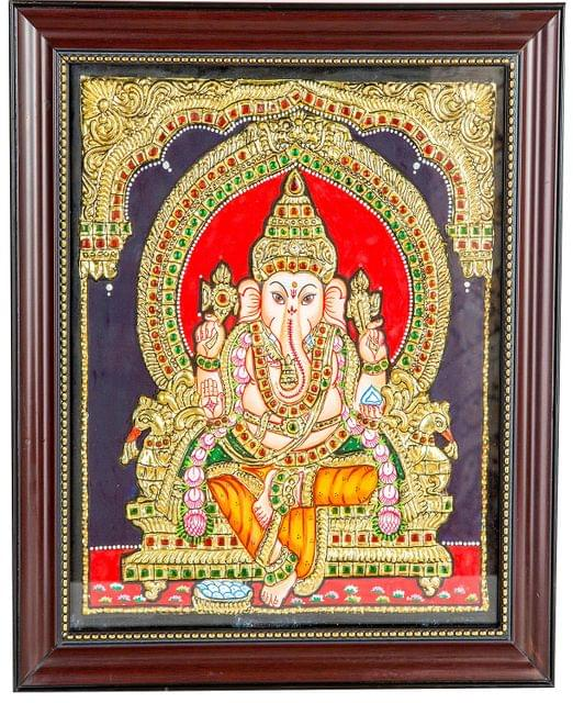 "Mangala Art Ganesha Indian Traditional Tamil Nadu Culture Tanjore Painting - 25x30cms (10""x12"")"