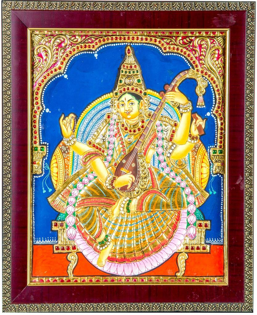 "Mangala Art Saraswathi Indian Traditional Tamil Nadu Culture Tanjore Painting - 20x25cms (8""x10"")"
