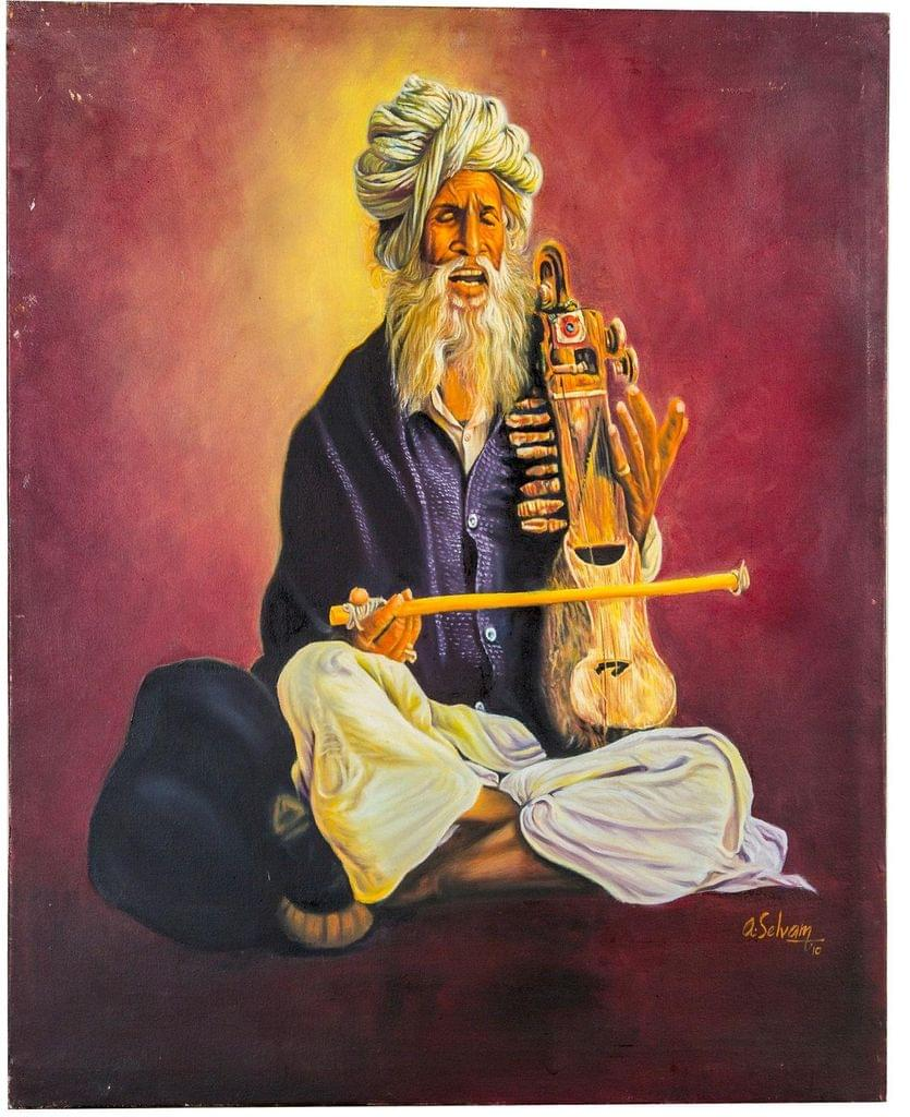 """Mangala Art Musician Wall Decor Canvas Oil Painting Without Frame - 61x61cms (24""""x24"""")"""