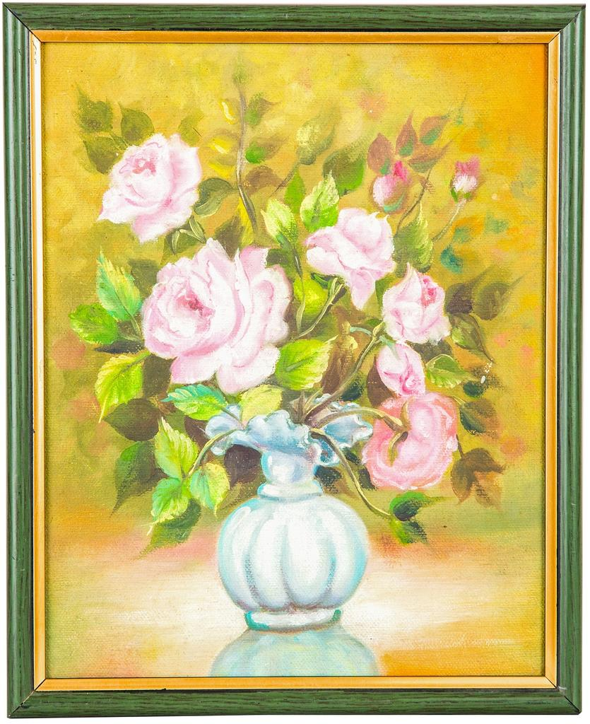 "Mangala Art Flower Vase Wall Decor Canvas Oil Painting - 20x25cms (8""x10"")"