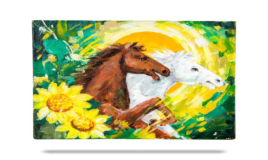 "Mangala Art Horse Wall Decor Canvas Oil Painting Without Frame - 20x25cms (8""x10"")"