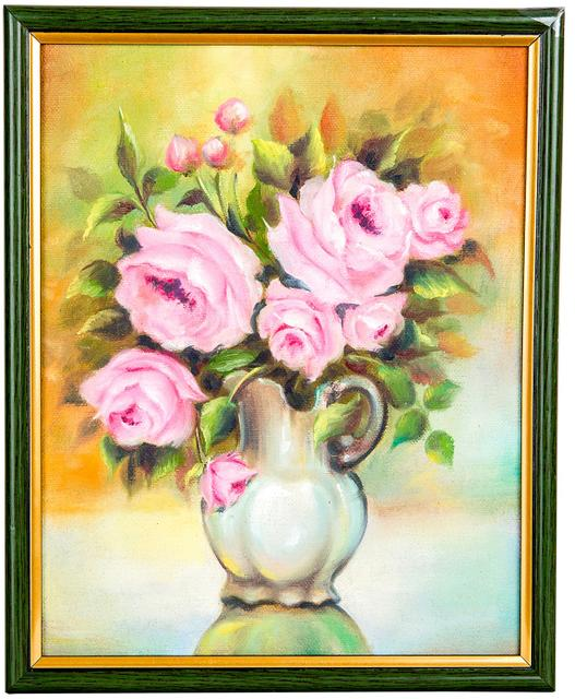 "Mangala Art Flower Vase Wall Decor Canvas Painting - 20x25cms (8""x10"")"