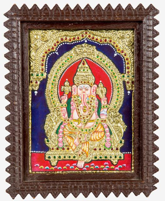 "Mangala Art Ganesha Indian Traditional Tamil Nadu Culture Tanjore  Painting - 20x15cms (8""x6"")"