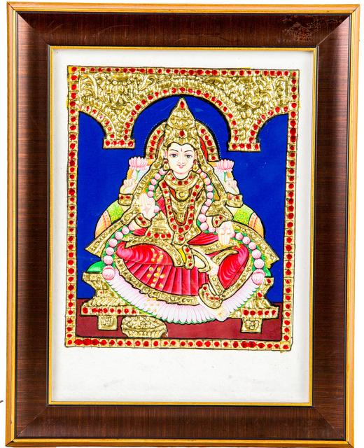 "Mangala Art Lakshmi Indian Traditional Tamil Nadu Culture Tanjore Acrylic Base Painting - 20x15cms (8""x6"")"