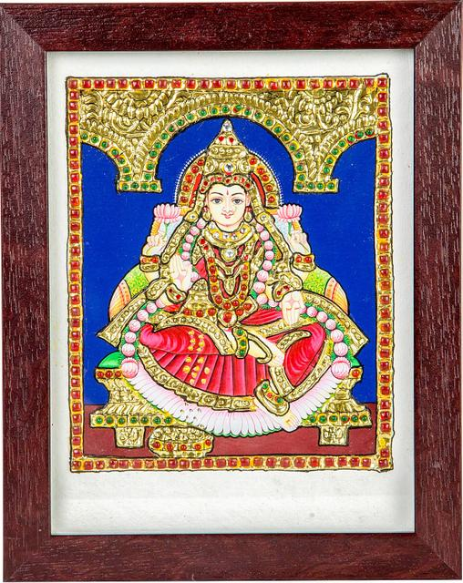"Mangala Art Lakshmi Indian Traditional Tamil Nadu Culture Acrylic Base Tanjore Painting - 20x15cms (8""x6"")"