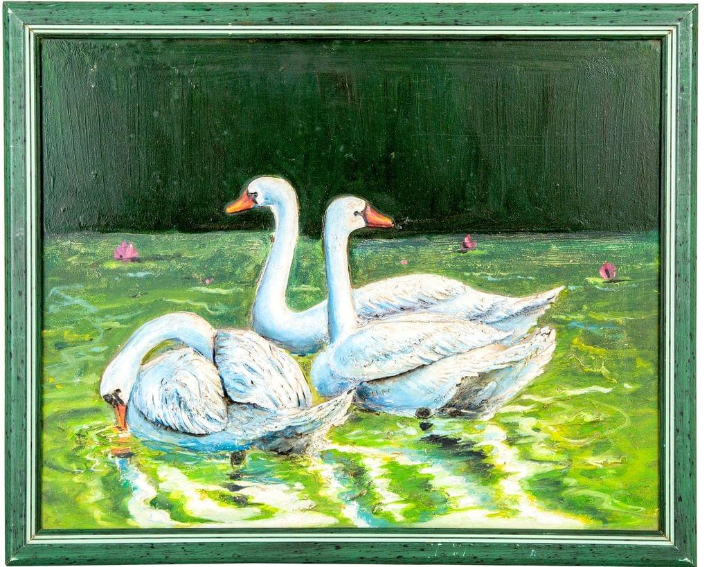 "Mangala Art Swan Mural Work Wall Decor 43x33cms (17""x13"")"