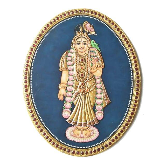 "Mangala Art Oval Andal Antique Finish 24 Carat Gold Foil Tanjore Painting - 8""x10"""