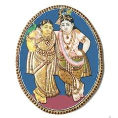 "Mangala Art Oval Radha Krishna Antique Finish 24 Carat Gold Foil Tanjore Painting - 8""x10"""
