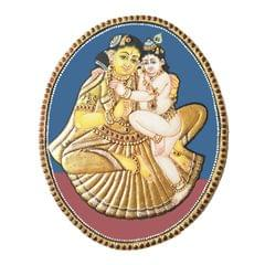 "Mangala Art Oval Krishnar Yasodha Antique Finish 24 Carat Gold Foil Tanjore Painting - 8""x10"""