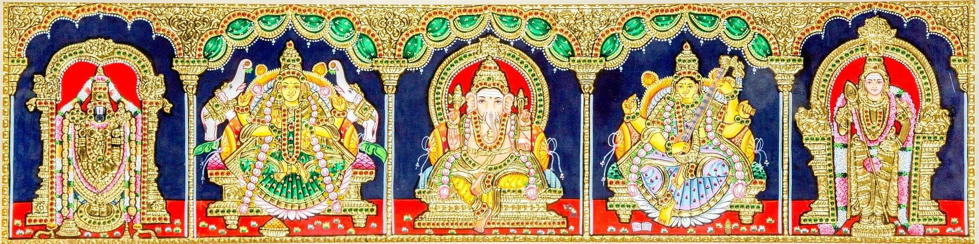 5 Gods Tanjore Painting