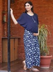 Blue Maxi Layered Floral Printed Maternity Dress