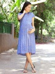 Floral Print Maternity Dress- sky blue dress