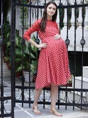 Vibrant Red Checks & Lace Maternity Dress