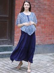 Navy Layered Maternity & Nursing Dress