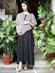 Noir Safari Layered Maternity & Nursing Dress
