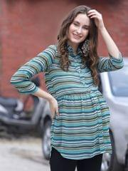 Sea Green Striped Maternity & Nursing Top