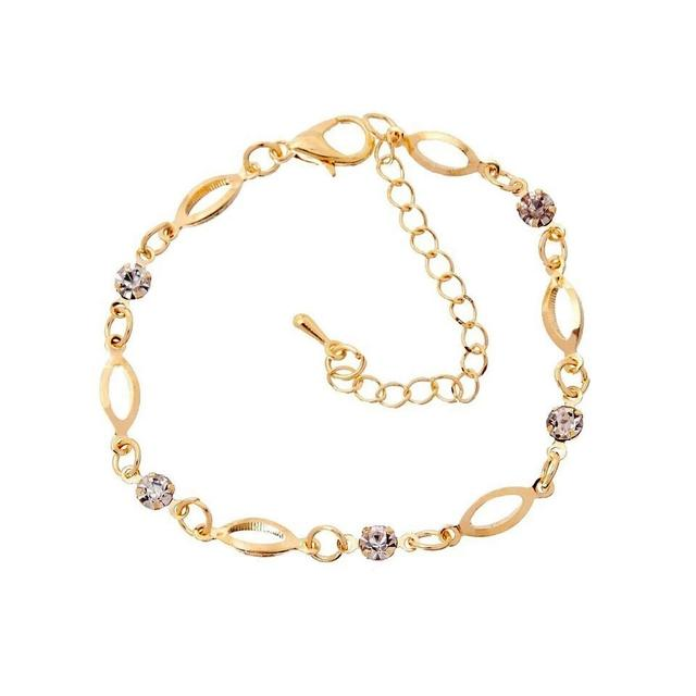 Gold Plated  Zircon Crystal Link Charm Bracelet