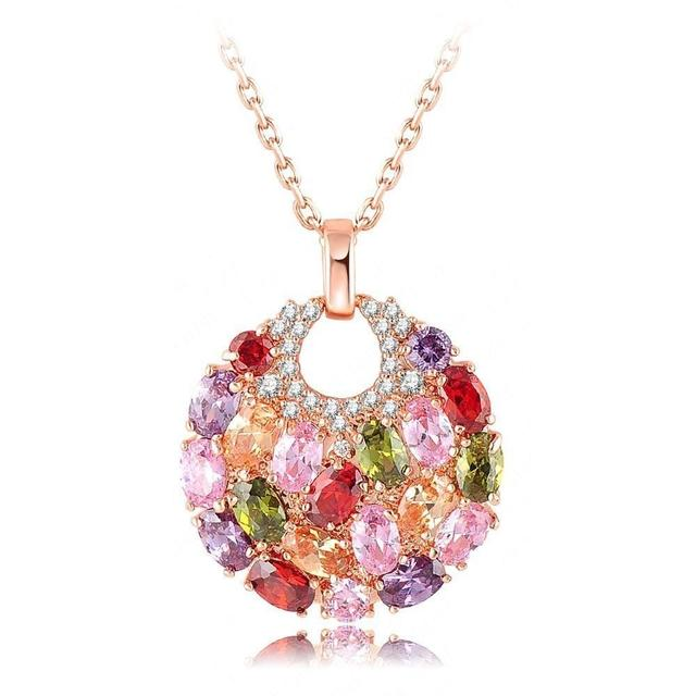 Rose Gold Plated Multicolour Swiss Cubic Zircon Round Pendant Necklace